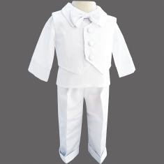 d311e3a79d8 Ensemble baptême garçon en satin brillant blanc 3 pièces Louis
