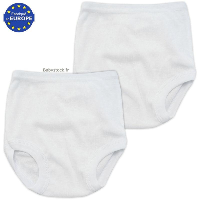 Lot de 2 culottes bébé mixte en coton blanc 28ab51285a8