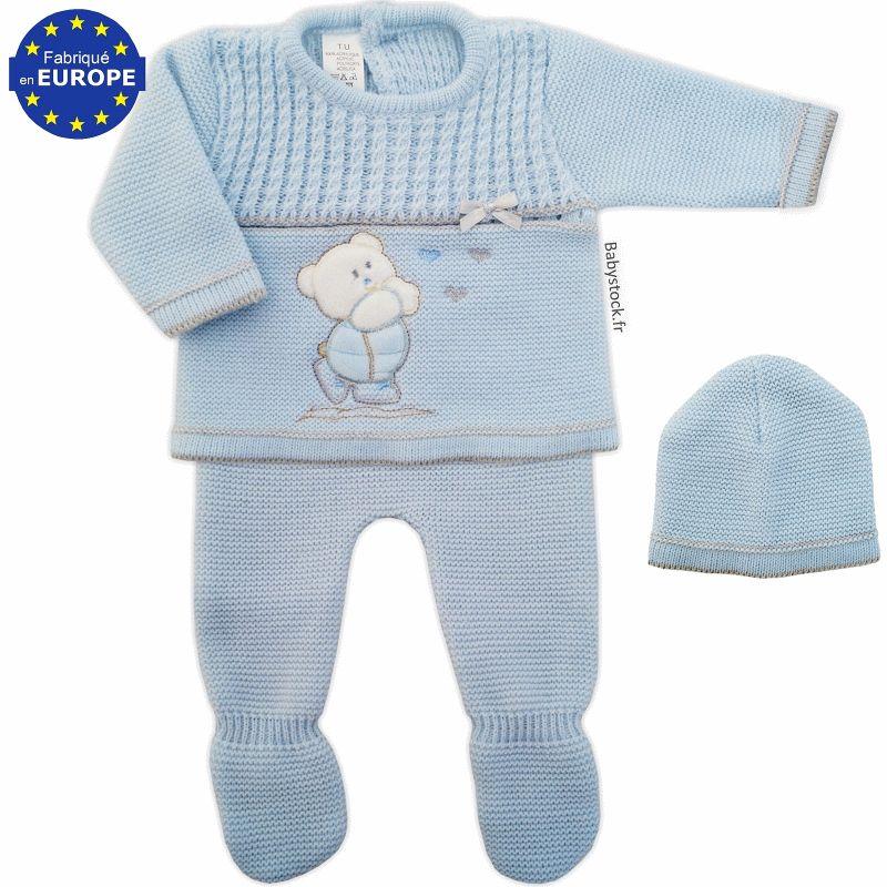 c5f47503da491 Ensemble bébé garçon en maille acrylique Ourson bleu > Babystock