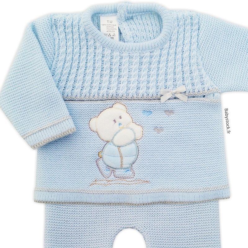 a5a0bc8d10c15 Ensemble bébé garçon en maille acrylique Ourson bleu · Liste ...