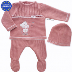 Ensemble bébé fille en maille acrylique Ourson rose