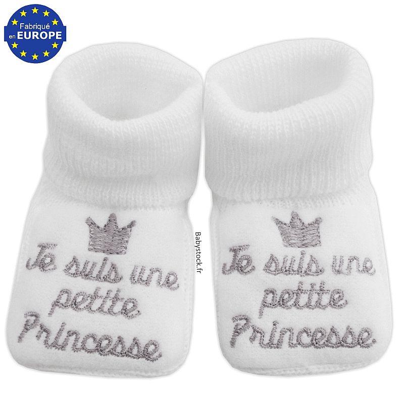 chaussons b b fille en maille tricot je suis une petite princesse blanc 3 99. Black Bedroom Furniture Sets. Home Design Ideas