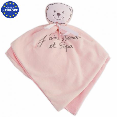 7b13df23a6506 Doudou bébé fille velours rose brodé J aime Maman et Papa