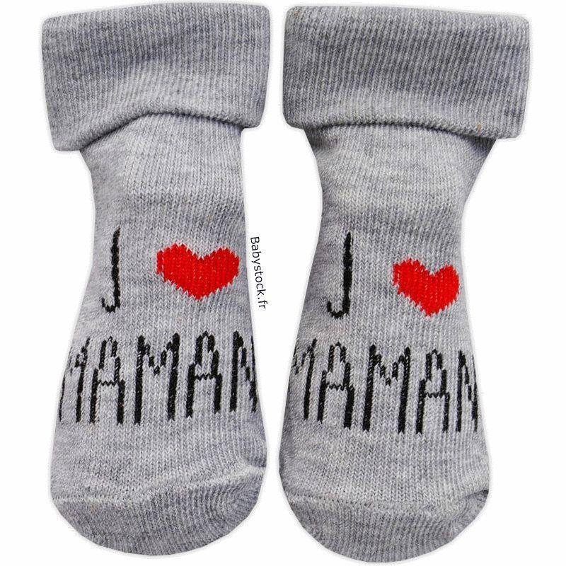 2c61c328a10ad Chaussettes bébé mixte gris chiné J aime Maman   Babystock
