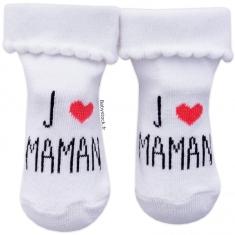 788d57fe0ee61 Chaussettes bébé fille blanc   rose J aime Maman