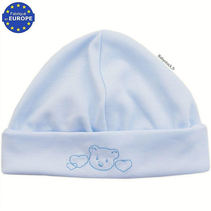 Bonnet naissance en coton bleu brodé Bébé fabriqué au Portugal à 3,99 € 4230875d52e