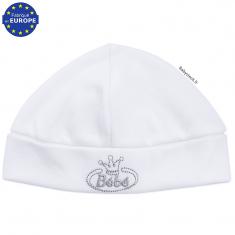 Bonnet naissance en coton blanc brodé Bébé gris ee2cf03a9cf