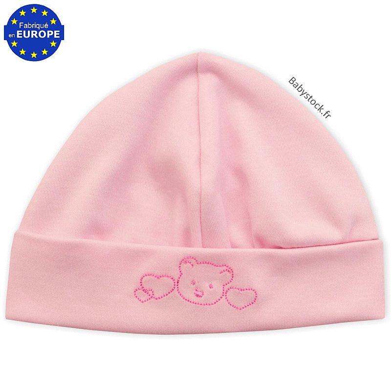 Bonnet bébé naissance fille en coton rose brodé Ourson   Babystock 2111d15377a