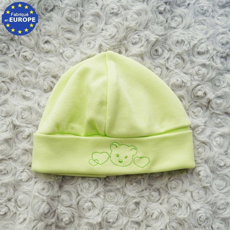 Bonnet bébé naissance garçon en coton bleu brodé Ourson   Babystock b0f12e46b33