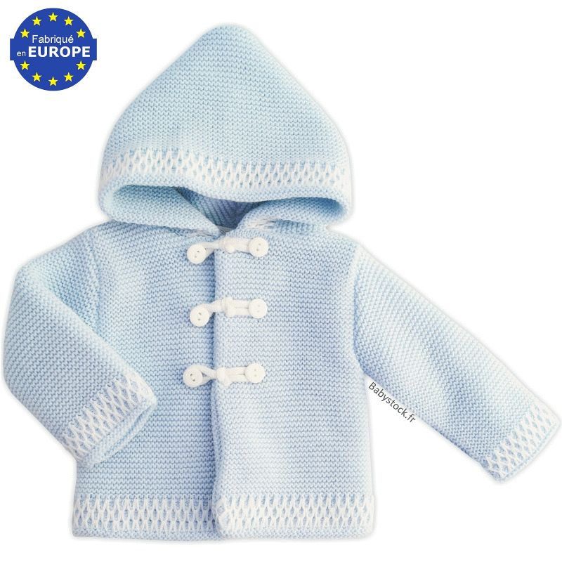 gilet manteau capuche pour b b gar on en maille tricot bleu layette 16 99. Black Bedroom Furniture Sets. Home Design Ideas