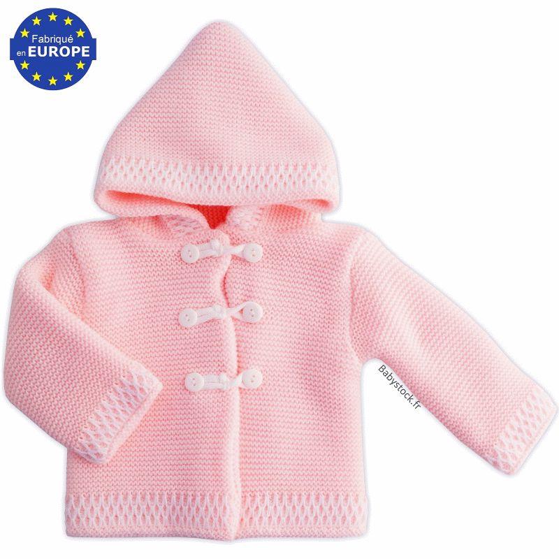 a353fd9d6ec12 Gilet manteau à capuche pour bébé fille en maille tricot rose ...