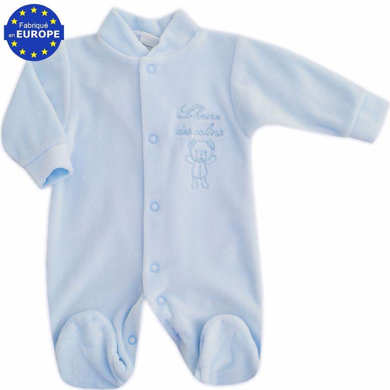 Pyjama naissance garçon en velours bleu ciel brodé L heure des câlins 5f38f00cc08