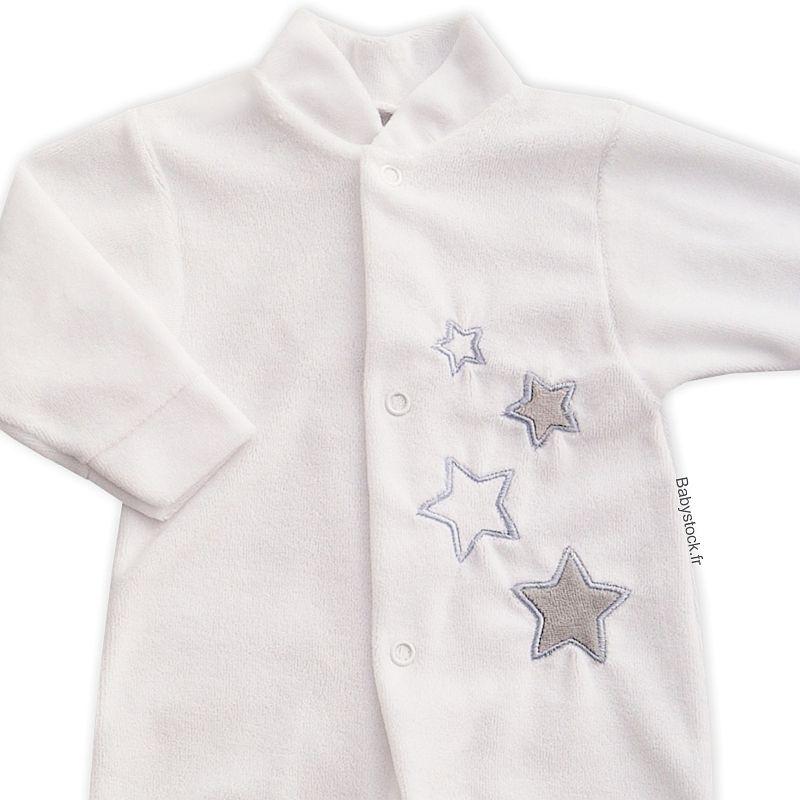 Pyjama bébé mixte en velours blanc brodé d un nuage gris 1bf7b5776d0