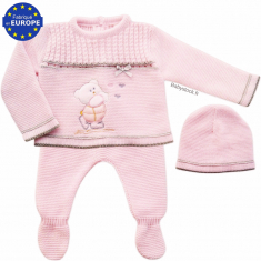 Ensemble bébé fille en maille rose layette brodé Ourson