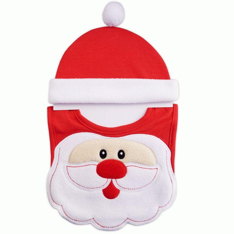 021fd24c5309d Bonnet + bavoir en coton rouge et fourrure blanche Père Noël   Babystock