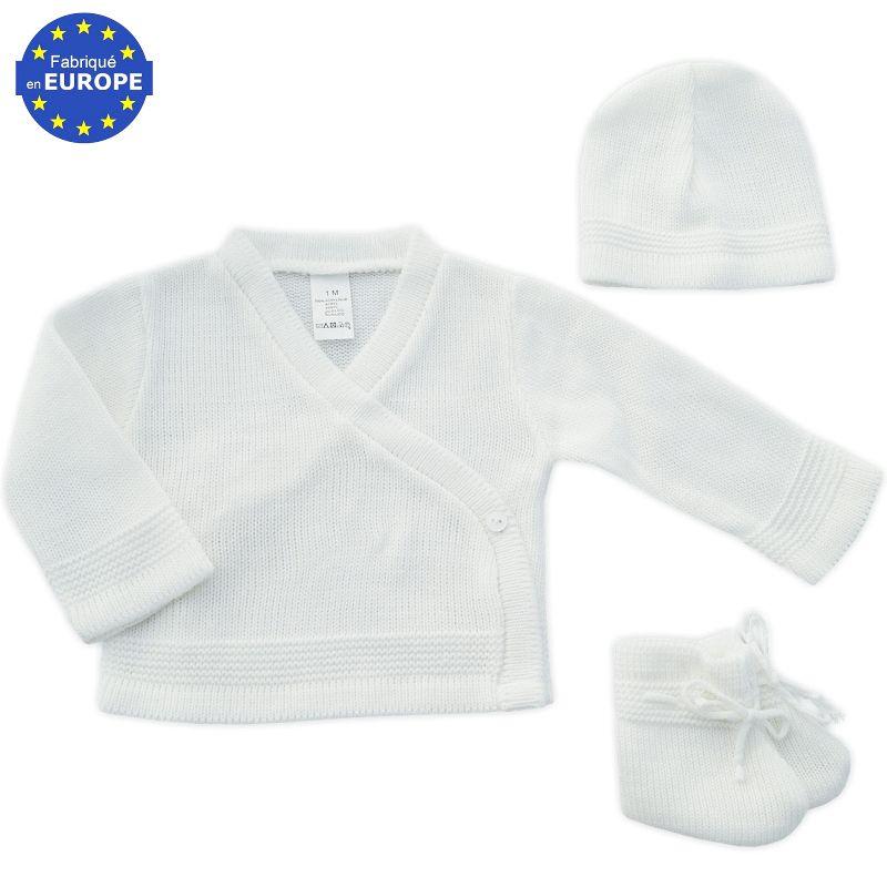 5d31a4294ec28 Ensemble brassière + bonnet + chaussons en maille acrylique blanc à ...