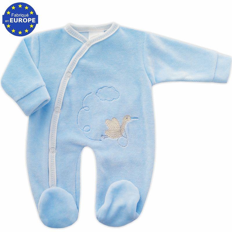 3a9220dd2516c Pyjama bébé prématuré 40 cm en velours bleu Cigogne