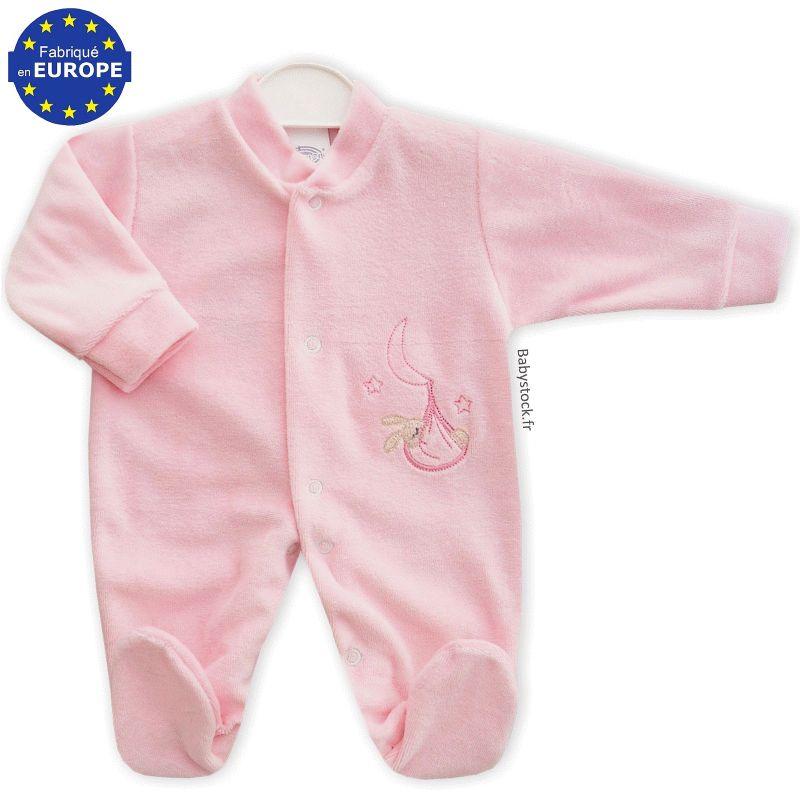 3124e768dca0c Pyjama bébé prématuré fille 43cm en velours rose layette brodé ...