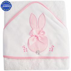 6e4d380eb5074 Grande cape de bain bébé en éponge Lapin blanc et rose