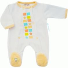 942e15f8ae068 -23% Pyjama bébé préma 45 cm en velours blanc   jaune Néonat