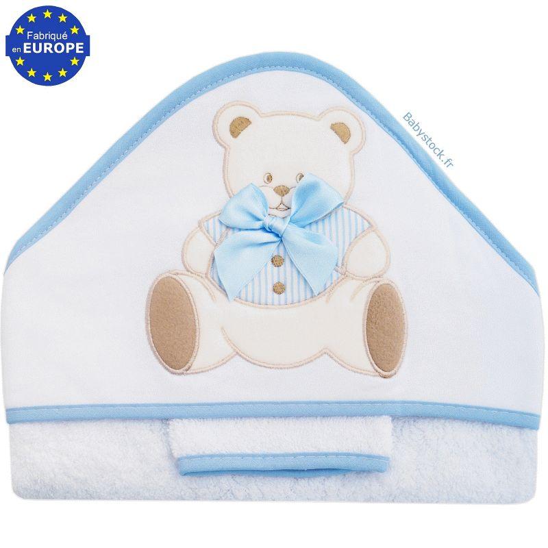 e5aaf29dd05bf Grande sortie de bain pour bébé en éponge + gant Ourson bleu > Babystock