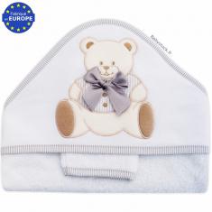 af2ee2a489ba8 Grande sortie de bain bébé mixte en éponge + gant Ourson gris