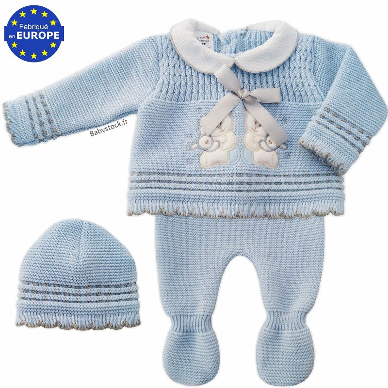 a0bbb3f97812c Ensemble acrylique bébé garçon brodé bleu layette / gris > Babystock