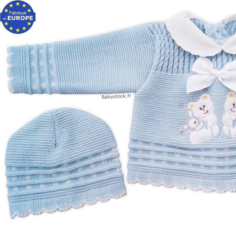 8894758892fce Ensemble acrylique bébé garçon brodé bleu layette / gris · Liste ...