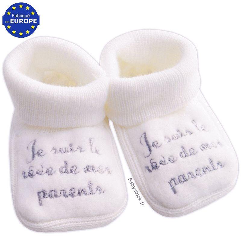6e218a145063b Chaussons bébé 0 3 mois en maille acrylique blanche brodé Je suis le ...