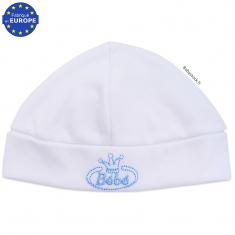Bonnet naissance en coton blanc brodé Bébé bleu 79c2f98c019