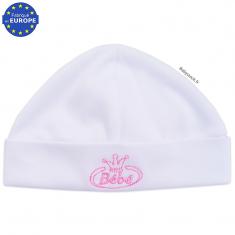 Bonnet naissance en coton blanc brodé Bébé rose 42330ed4244