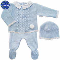 Ensemble bébé garçon en maille acrylique gris et blanc pompons 7d5b8fa51d8