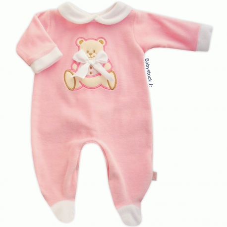 Pyjama bébé fille en velours rose dragée brodé Ourson