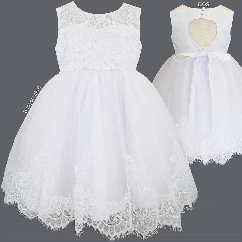 Robe De Bapteme Bebe Fille Blanche En Dentelle Perles Satin Tulle Et Dos Ajoure Agathe
