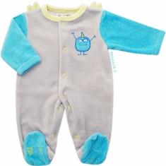 27c0f65a1a946 Pyjama bébé prématuré 45cm en velours gris et turquoise Monstre