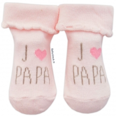 70340e0b0e1ed Chaussettes pour bébé fille rose pâle J aime Papa