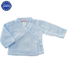 fcbf0b1de3cf6 Brassière cache-cœur bébé garçon en maille tricot jersey bleu