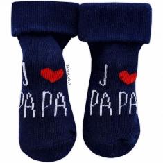 652954d990eb1 Chaussettes bébé mixte bleu marine J aime Papa