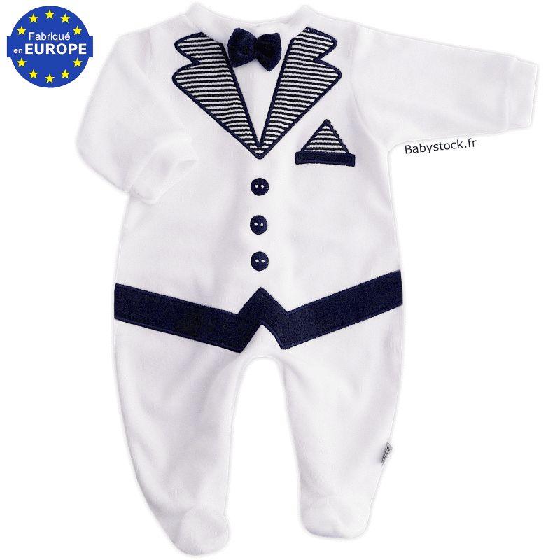 a777f0f6a7d8a Pyjama bébé garçon effet smoking en velours blanc brodé marine ...