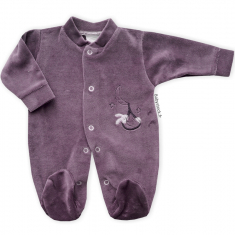 Pyjama préma 45cm velours orange corail blanc imprimé Flamants