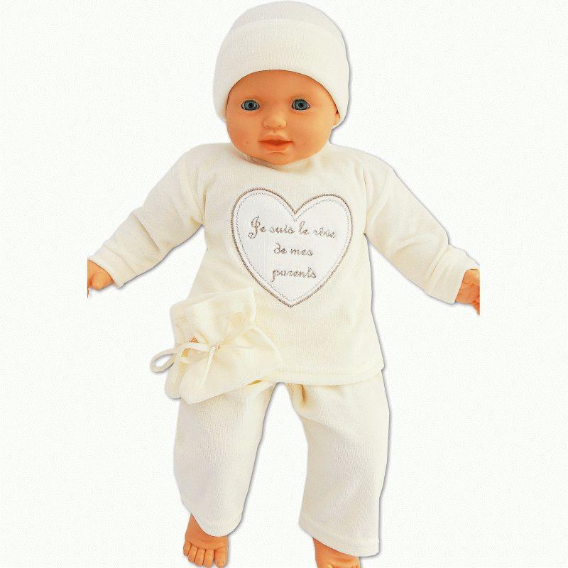 2825b7371ddf2 Ensemble bébé Je suis le rêve de mes parents crème 4 pièces
