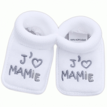 chaussons pour b b mixte brod s j 39 aime mamie babystock. Black Bedroom Furniture Sets. Home Design Ideas