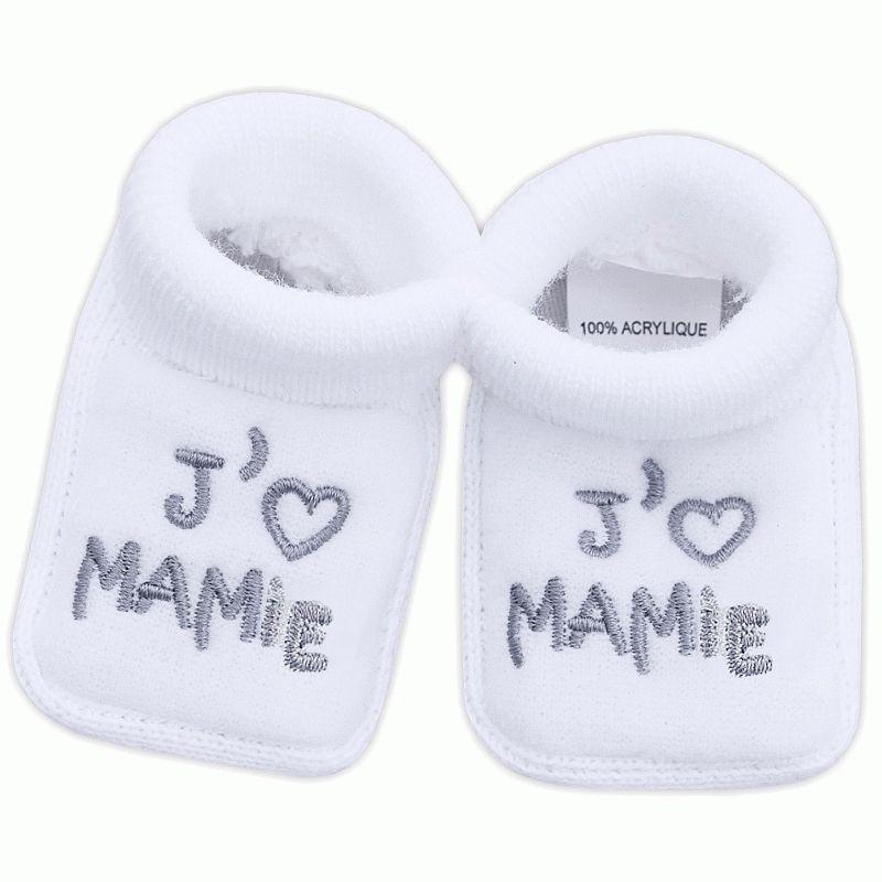 18b38c1796bd6 Chaussons pour bébé brodés J aime MAMAN   Babystock