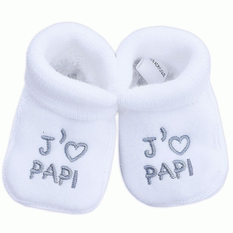 chaussons mixte pour b b brod s j 39 aime papi babystock. Black Bedroom Furniture Sets. Home Design Ideas