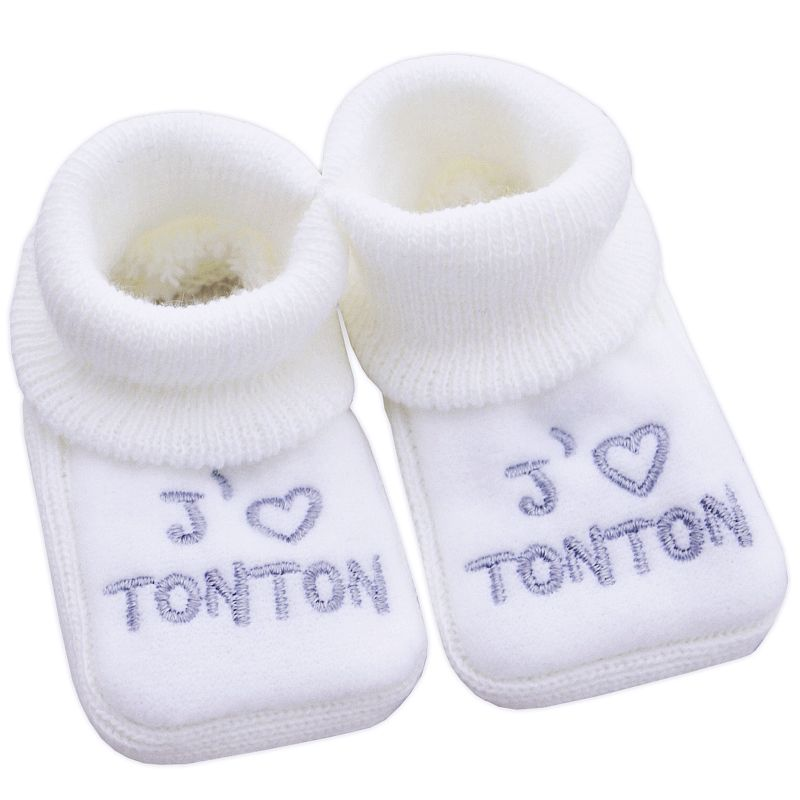 chaussons b b mixte en maille j 39 aime tonton babystock. Black Bedroom Furniture Sets. Home Design Ideas