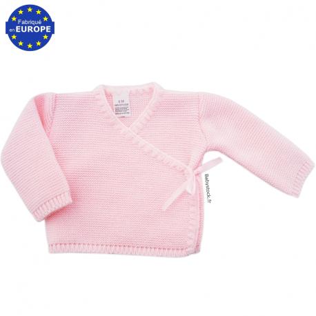 4a30f7d49c579 Brassière bébé en maille acrylique rose > Babystock ♥