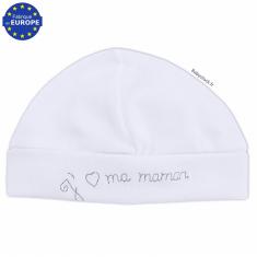 Bonnet bébé en coton blanc brodé J aime ma Maman gris 4d0962d75ad