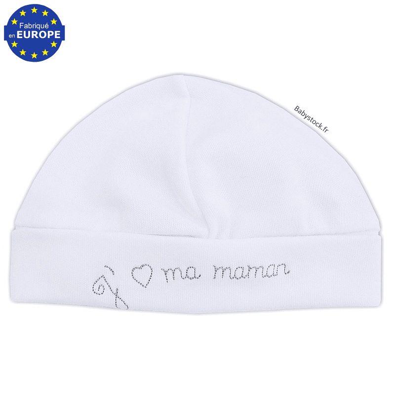 9de9e26b40ede Bonnet bébé en coton blanc brodé J aime ma Maman gris   Babystock