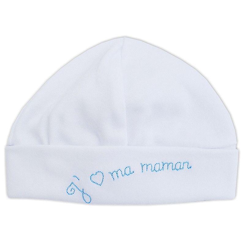 e84e4240e26 Bonnet bébé en coton blanc brodé J aime ma Maman bleu   Babystock