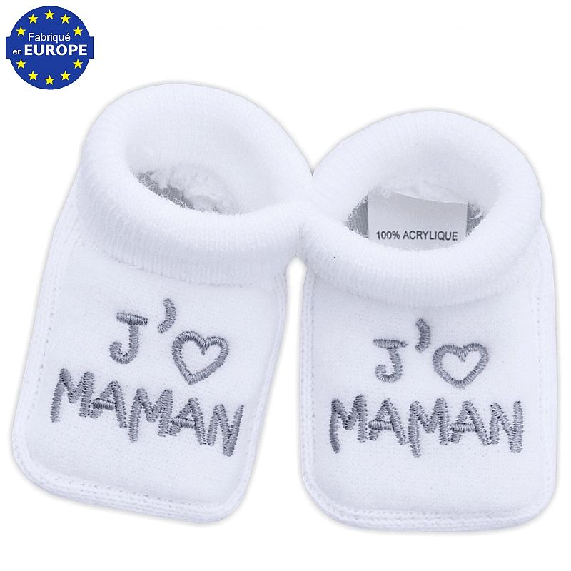 chaussons pour b b brod s j 39 aime maman babystock. Black Bedroom Furniture Sets. Home Design Ideas